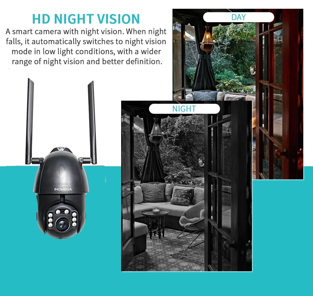 كاميرا واي فاي PTZ قبة IP مراقبة الأمن كاميرا سحابة لاسلكية في الهواء الطلق CCTV مقاوم للماء هيئة التصنيع العسكري كاميرا الصوت INQMEGA