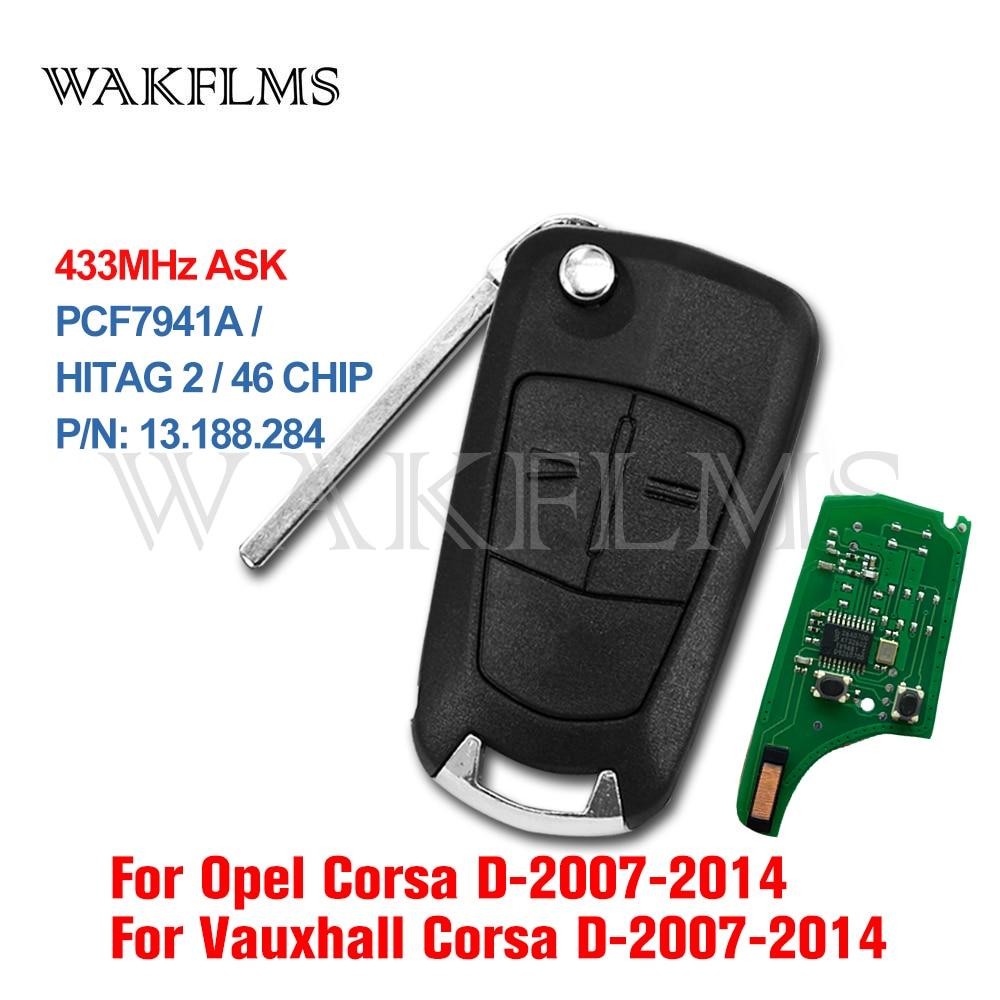 2 кнопки дистанционного ключа автомобиля 433 МГц для Opel/Vauxhall Astra Corsa D 2007 2008 2009 2010 2011 2012 2013 2014 PCF7941A 46 чип P/N 13.188.284