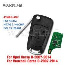 2 botão Carro 433MHz Chave Remota para Opel/Vauxhall Corsa D 2007 2008 2009 2010 2011 2012 2013 2014 PCF7941A 46 Chip P/N 13.188.284