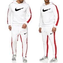 Брендовый спортивный костюм мужское термобелье мужские спортивные комплекты флисовое плотное худи + штаны Male