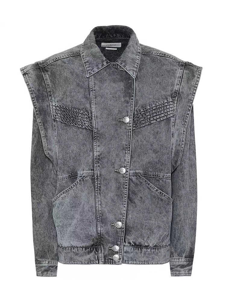 K & L kylen studio серая джинсовая куртка с потертостями на раннюю осень 2020 Свободная джинсовая куртка с свободными рукавами с рюшами