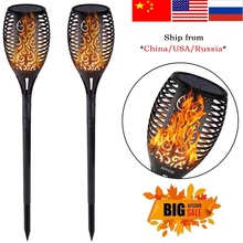 Flame Solar Torch Lights Lawn Lamp 1/2/4Pcs Dancing Flickering for Mpow LED Waterproof Light Garden Lamps