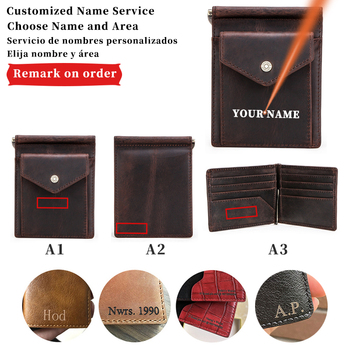 Free Engraving Name Slim Money Clip Money Case Genuine Leather Card Wallet Men Women Bifold Wallets with Coin Pocket Gift