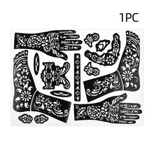1 Sheet Professional Henna Tattoo Hollow Templates Hands Feet Leg Arm Airbrushing Tattooing Templates Temporary Body Painting