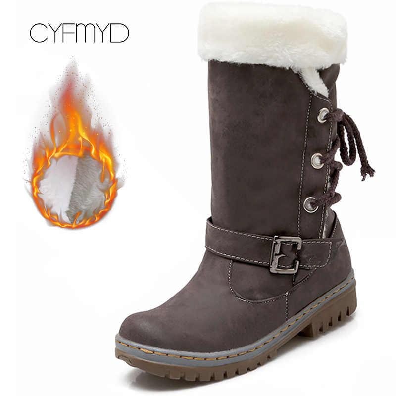 Artı boyutu 43-46 kış kadın botları kauçuk orta buzağı PU deri çizmeler kadın peluş toka dantel güzel çizmeler kadın
