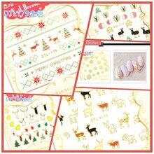 3D Маникюр цветок переводные наклейки на ногти Рождество, клейкие бумажные милые Рождественские новые стильные горячие продажи DTL174-189