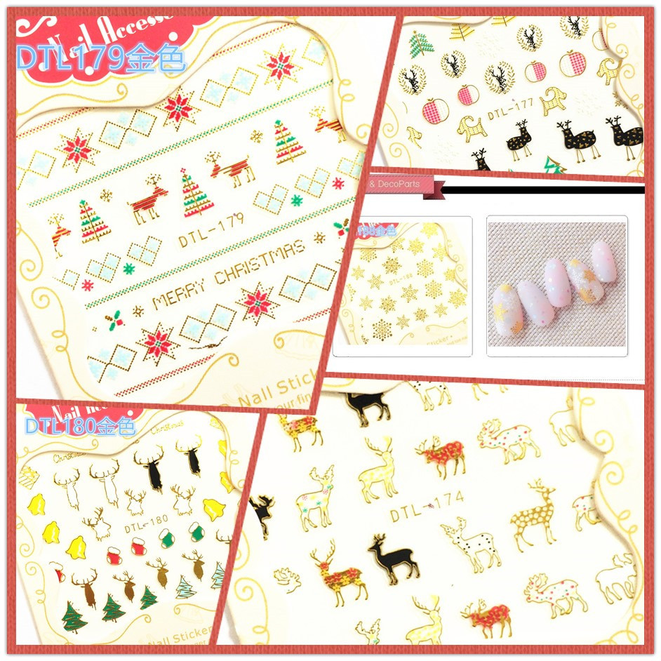 3D Manicure Flower Stickers Nail Decals Christmas Adhesive Paper Cute Christmas New Style Hot Selling DTL174-189