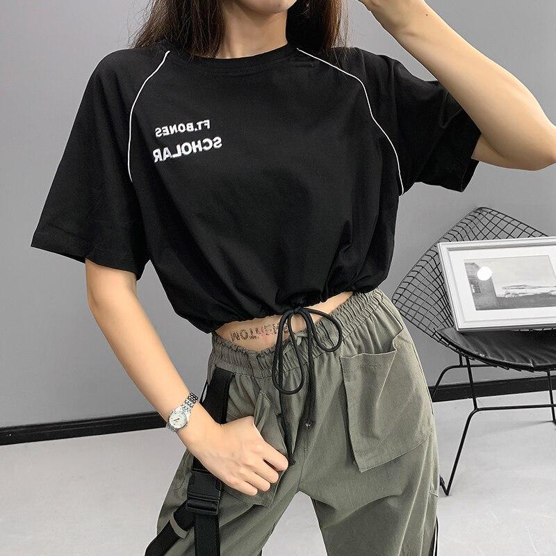 Women Crop Tops Lettered Embroidered T-shirt Short Raglan Sleeve Drawstring Short High-waisted Jazz Dance Tops Fashion E-girls