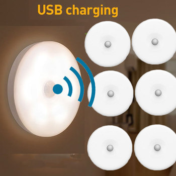 Chargeable LED Light Pir Motion Sensor Night Lamp Warm White Under Cabinet Closet Wardrobe Bedroom Kitchen Stairs Lighting LED image