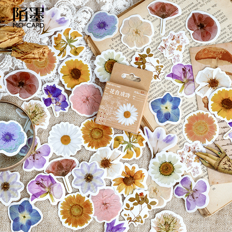 Mohamm 46PCS Boxed Stickers Flower Self Creation Creative Decorative Sticker Flakes Scrapbooking Girl School Supplies Stationery