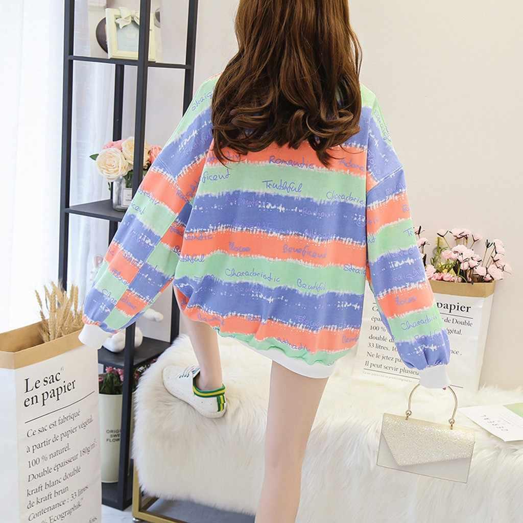 Feitong feminino casual solto impressão arco-íris retalhos o-pescoço casaco blusa tops pulôver moletom blusa