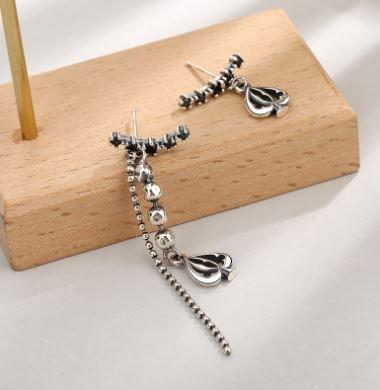 S925 sterling silver asymmetric fashion love earrings retro temperament ear rings national style Gift in Hoop Earrings from Jewelry Accessories