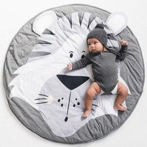 Image 3 - Tapis de jeu dessin animé Animal bébé tapis nouveau né infantile ramper couverture coton rond tapis de sol tapis tapis pour enfants chambre pépinière décor