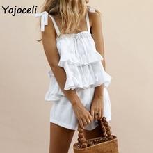 Yojoceli cute bow ruffle jumpsuit romper women two pieces set boho beach playsuit
