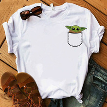 LUSLOS fashion women t shirt mandalorian baby yoda star wars t shirts summer short sleeve casual white tshirt streetwear clothes