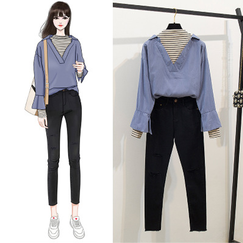 Real Shot Autumn And Winter New Suit Temperament Fake Two Shirt Shirt Black Tight Denim Leggings Nine Points Trousers