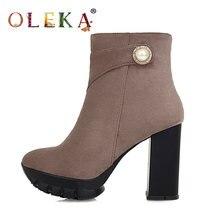 Oleka ботинки до середины икры зимние женские квадратный каблук