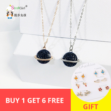 2019 new arrival Fashion 2 colors Blue statement Crystal Planet 925 Silver Necklace as a gift for women free shipping new arrival 1 set 3d toothshade guide 29 colors with bleached porcelain shades for teeth whitening treatments free shipping