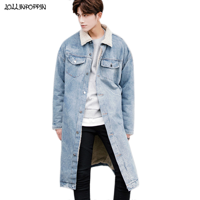 Winter Fleece Inside Mens Long Style Denim Jacket Zippered Cuffs Thick Denim Coat Turn Down Collar Loose Retro Blue Jean Jacket