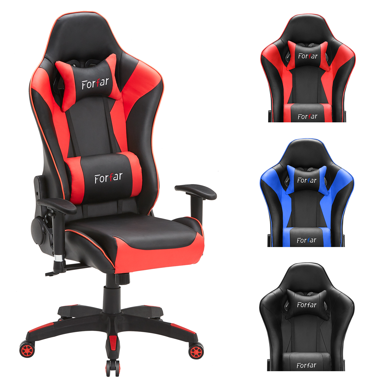 Computer Gaming Chair Racing Style PU Leather Swivel Ergonomic Office Chair Adjustable Height With Headrest And Lumbar Support