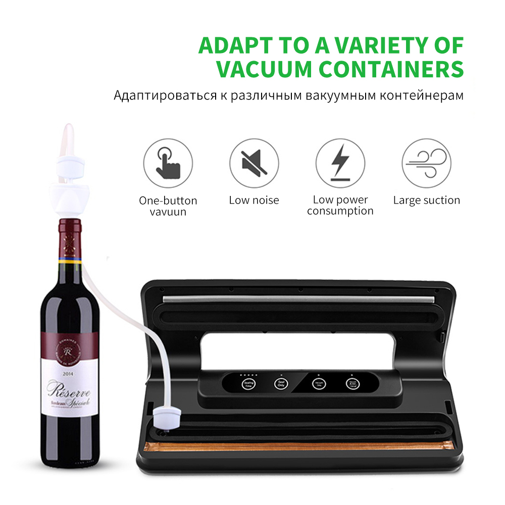 FUNHO вакуумный упаковщик для пищевых продуктов, электрическая упаковочная машина, включает 15 шт. вакуумных упаковочных пакетов, упаковочных ...