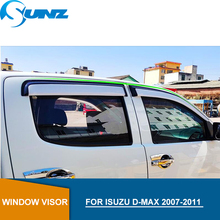 цены Sliver Car door visor For ISUZU D-MAX 2007-2011 side window deflectors For Isuzu D-max 2007 2008 2009 2010 2011 accessories SUNZ