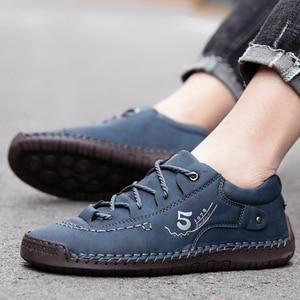 Image 5 - JUNJARM Handmade Men Casual Shoes Brand Men Sneakers Men Loafers Shoes Men Split Leather Breathable Moccasins Plus Size 38 48