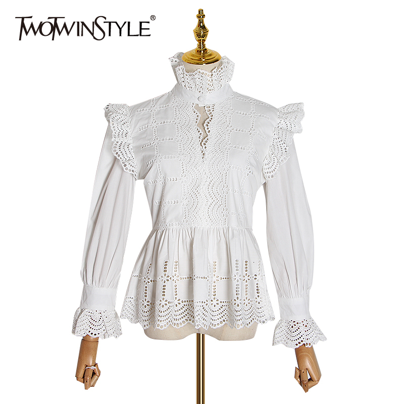 TWOTWINSTYLE Vintage Hollow Out Lace Blouse For Women Lapel Collar Flare Long Sleeve High Waist Ruffle Shirt Female 2020 Fashion