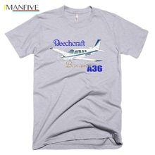 100% Cotton Print Mens Summer O-Neck Beechcraft Bonanza A36 (Blue) Airplane T-shirt - Personalized Tee Shirt