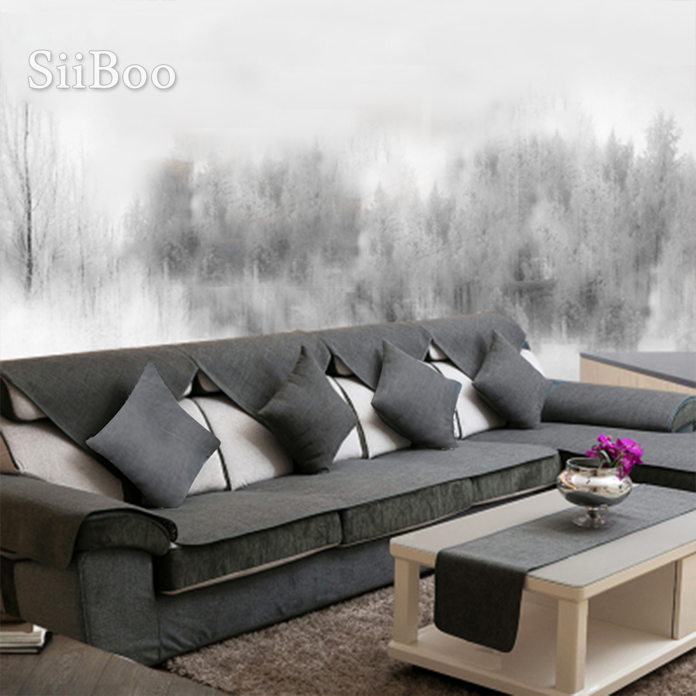 Summer Spring Grey Beige Cotton Black Linen Sectional Sofa Cover Europe Style Double Faced Fundas De Sofa Couch Covers SP5265