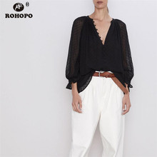 ROHOPO Black Chiffoon Polk Dot tulle Blouse Butterfly Long Sleeve Baggy V Collar Office Ladies Chic Soft Top Shirt #9452