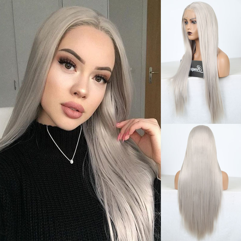 RONGDUOYI Silky Straight Heat Resistant Lace Wig Long Gray Synthetic Lace Front Wigs For Women Middle Part Grey Wig Daily Use