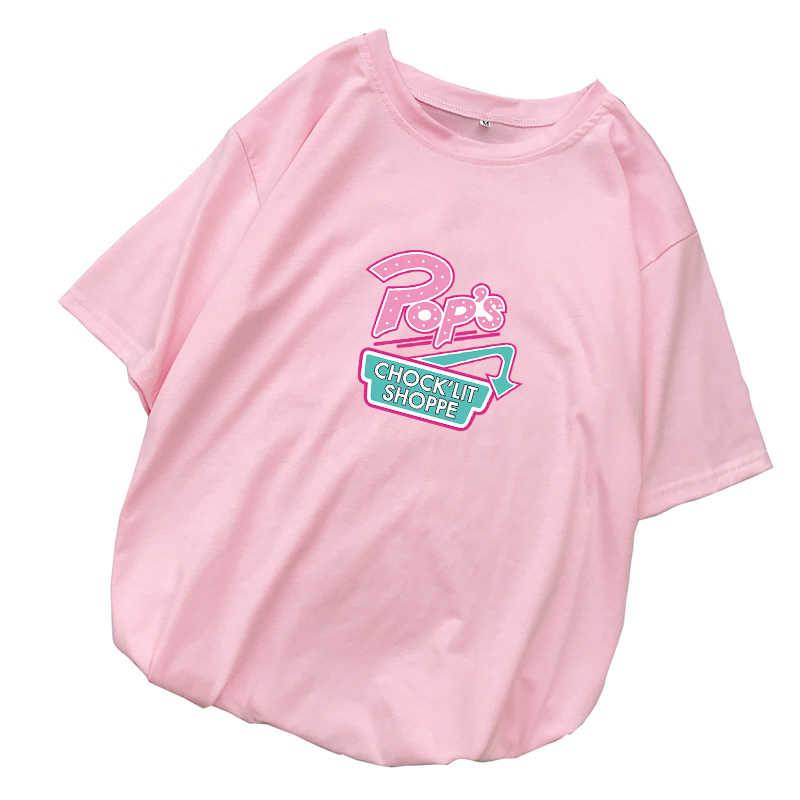 Riverdale T koszula kobiety lato Harajuku Vintage Casual z krótkim rękawem luźne koreański styl list koszule z nadrukiem koszulkę Femme ubrania
