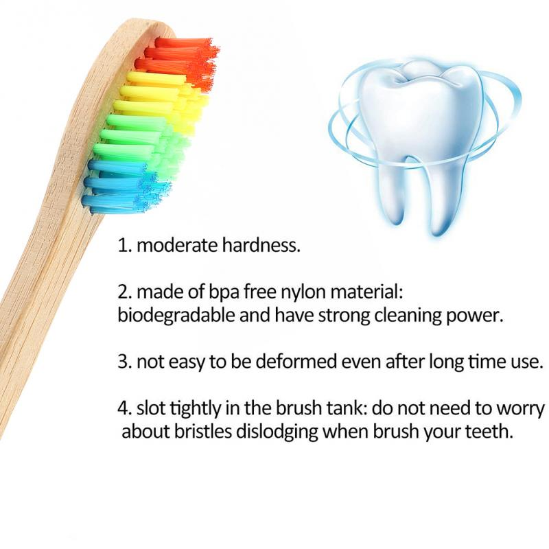 Eco-Friendly Colourful Bamboo Toothbrush Rainbow High Quality Portable Bamboo Toothbrush Oral Care Soft Bristle Toothbrush