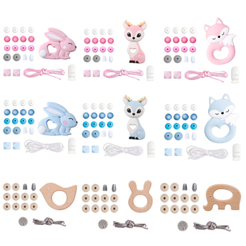 1set Silicone Beads Teether Rodent Food Grade BPA Free Fox Rabbit DIY Accessories Set Pacifier Chain Clips DIY Necklace Baby Toy