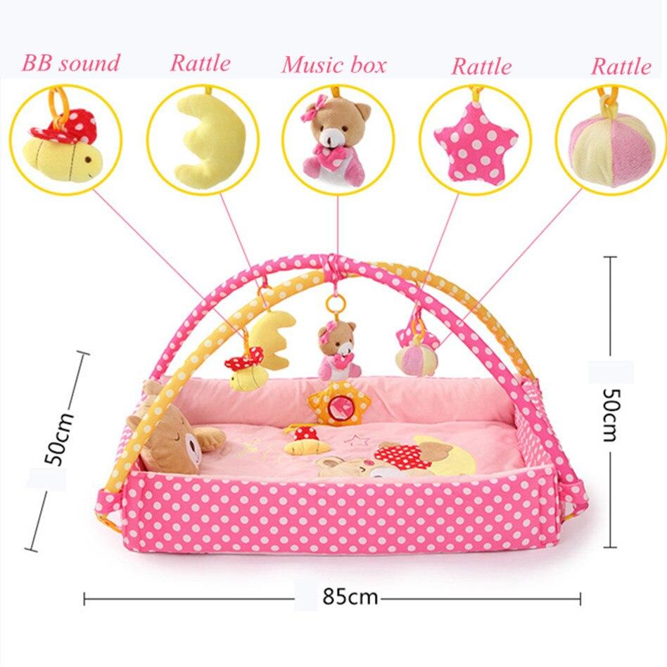 Carton ours bébé activité tapis Mobile berceau multifonction éducatif tapis jouet avec Rack doux Musical bébé gomme tapis de jeu