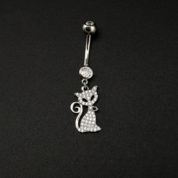 Body Jewelry 925 Sterling Silver Cat Navel Piercing Belly Button Rings Dangling Zircon Cute Men Women Accessories Decoration