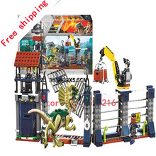 10923 307pcs Building Blocks Toys Compatible Jurassic Dinosaur World 75931 Dilophosaurus Outpost Attack(China)