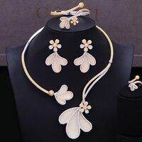 GODKI Jimbora Luxury 4PCS Jewelry Set Leaf Flower Bangle Ring Necklace Dangle Earrings for Women Bridal Wedding Jewelry Sets