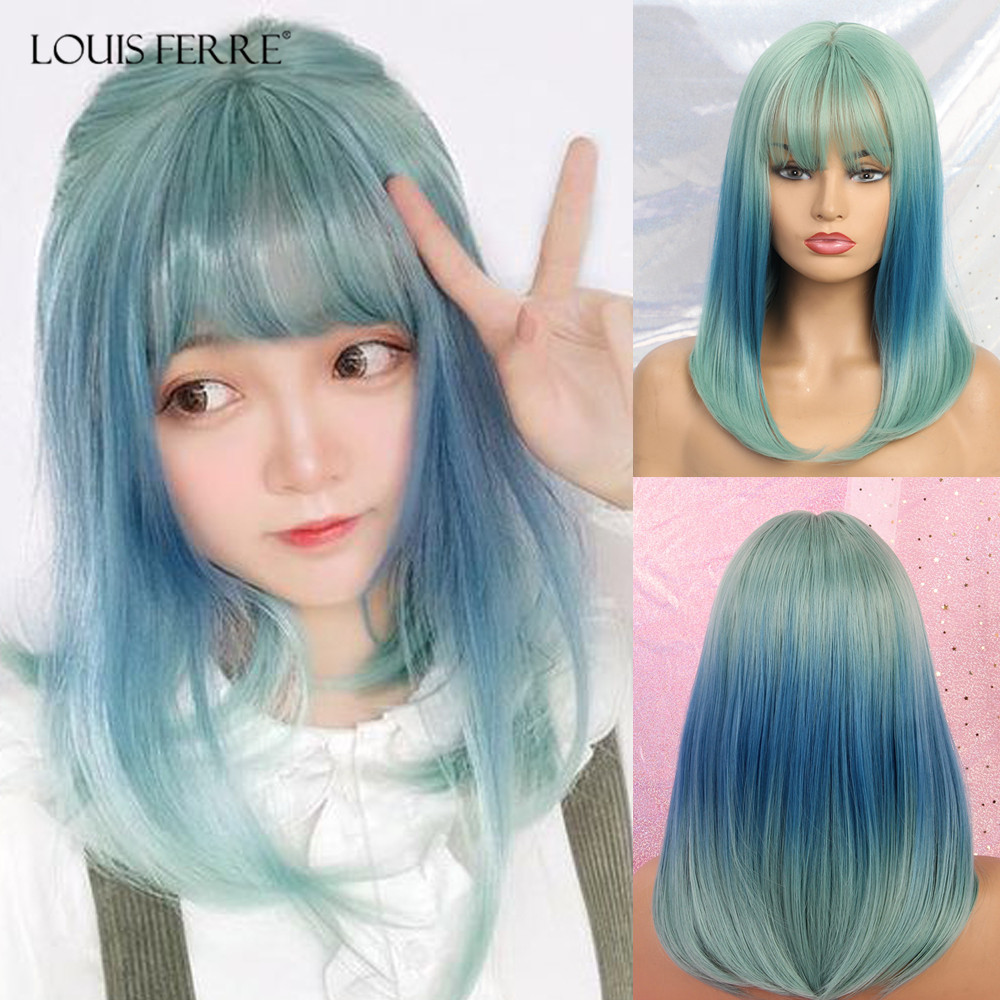 LOUIS FERRE Medium Straight Synthetic Wigs With Bangs For Women Girl Ombre Green Blue Bob Wigs Heat Resistant Cosplay Lolita Wig
