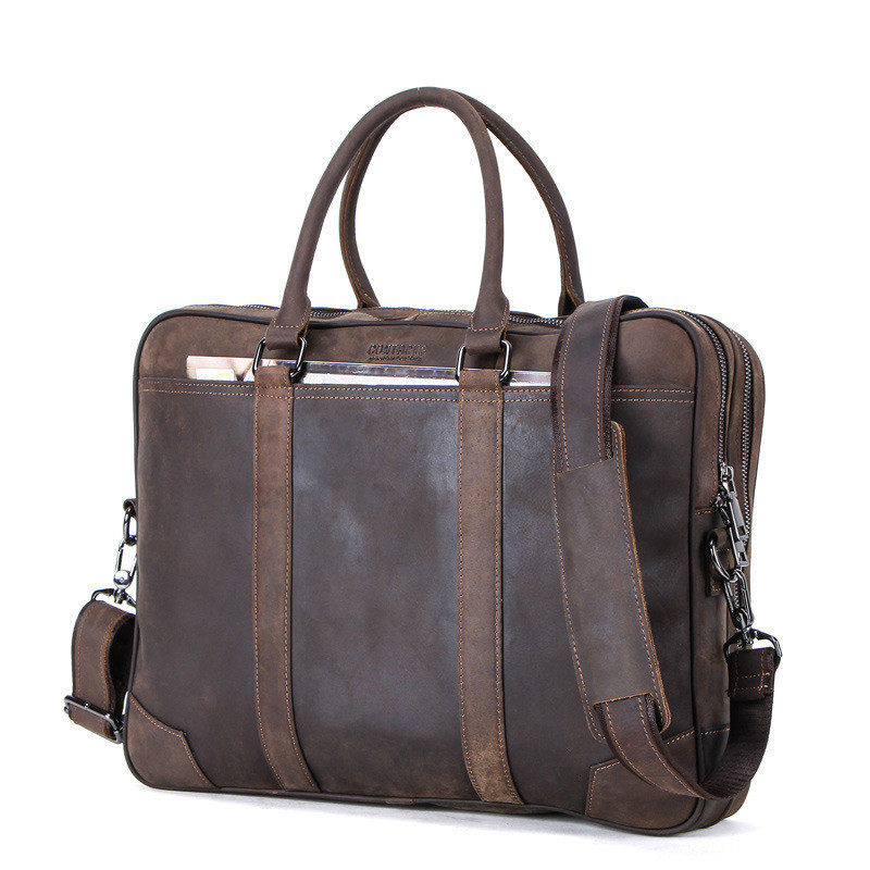 Hot Sale Men Briefcase Business Affairs Leisure Time Genuine Leather Man More Function Portable Oblique Satchel Messenger Bag
