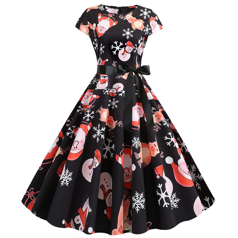 Women Christmas Party Dress robe femme Plus Size Elegant Vintage Short Sleeve Xmas Summer Dress Black Casual Midi Jurken Vestido 769