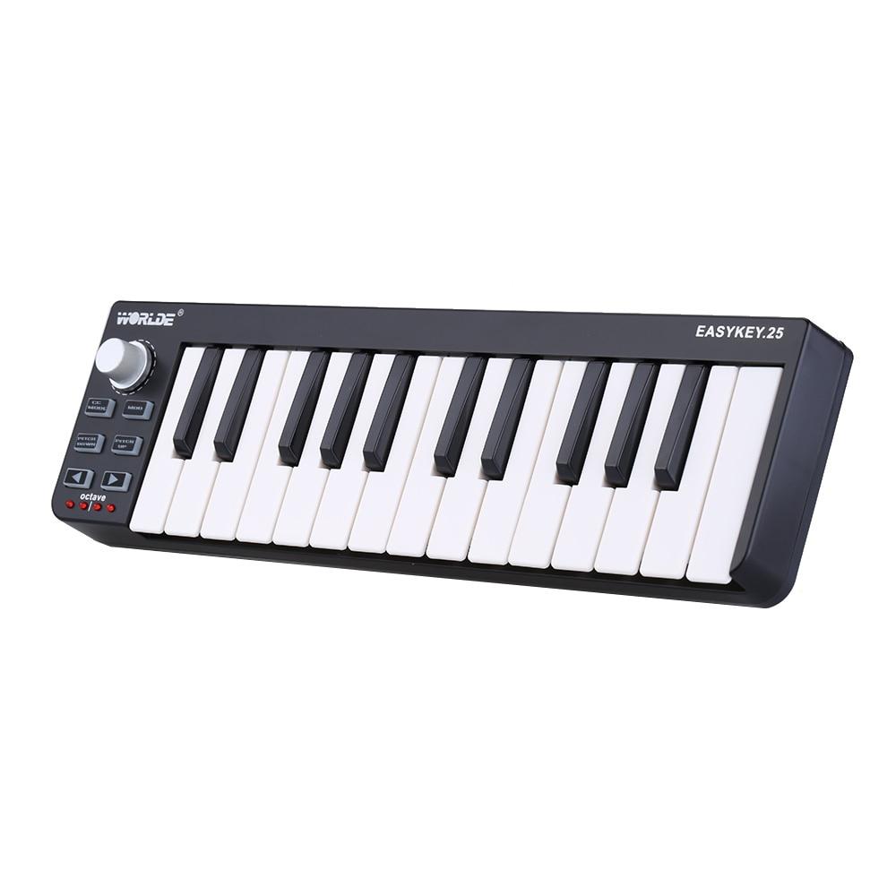 High Quality Worlde Easykey 25 Portable Velocity-sensitive Keyboard Mini Durable 25-Key USB MIDI Controller