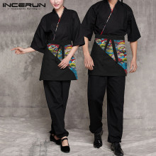 INCERUN Man Half Sleeve Japanese Kitchen Restaurant Tops Unisex Chef Uniform Kimono Sets Printed Chef Jackets Set 2 Pieces S-5XL