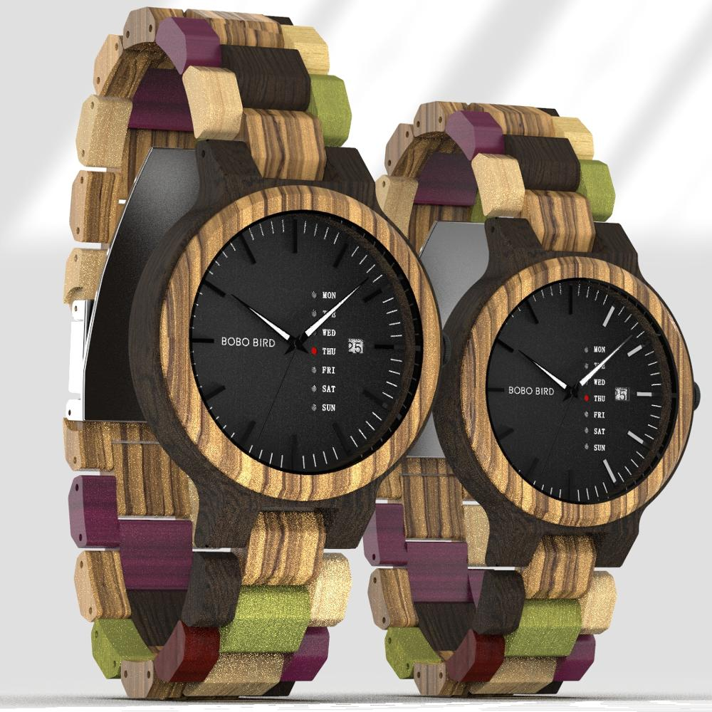 BOBO BIRD Wood Watch Men Women Quartz Week Date Timepiece Wood Band Lover Couple Watches For Anniversary Gifts Customized Logo