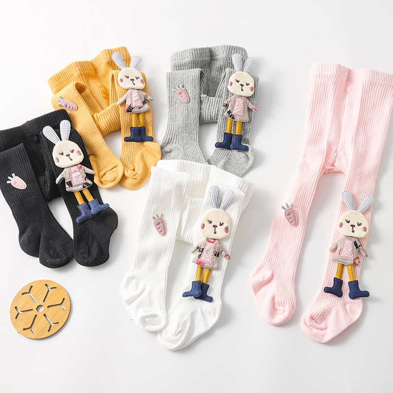 Spring Autumn Kids Knitted Children Pantyhose Cotton Double Needle Tights for Girls Cute Animal Baby Girl Winter Clothes 2