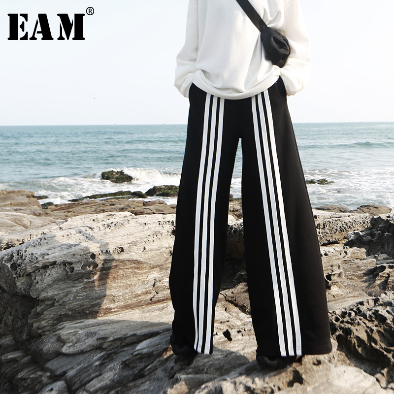 [EAM] High Elastic Waist Black Striped Long Wide Leg Trousers New Loose Fit Pants Women Fashion Tide Spring Autumn 2019 1D830