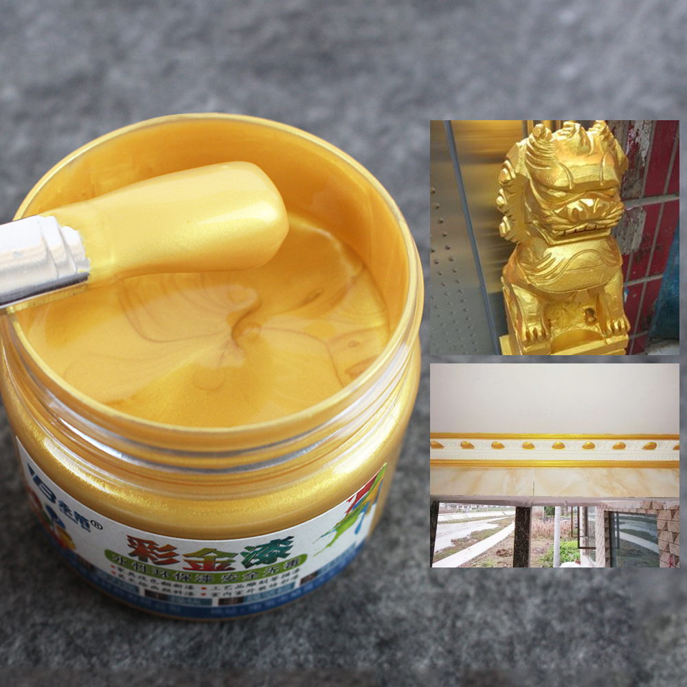 Gold Water-based Acrylic Paint Wood Lacquer Metal Varnish Coatings For Furniture Cars Statuary Coloring Tasteless 100g
