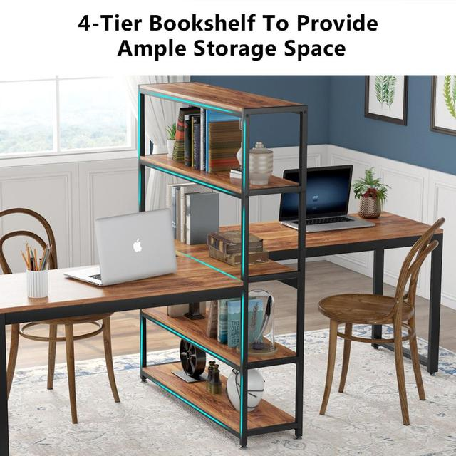 Two Person Computer Desk with Bookshelf 5