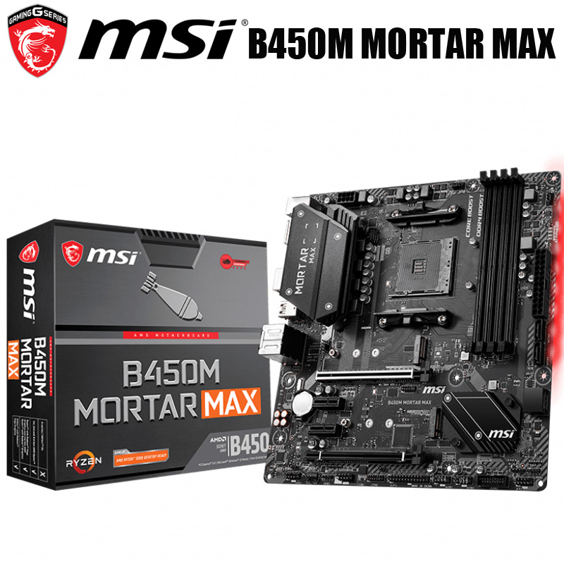 Nova tomada am4 amd b450 msi b450m morteiro max placa-mãe ddr4 64gb am4 pci-e 3.0 original desktop msi b450 mainboard am4 b450